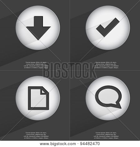 Arrow Directed Down, Tick, File, Chat Bubble Icon Sign. Set Of Buttons With A Flat Design. Vector