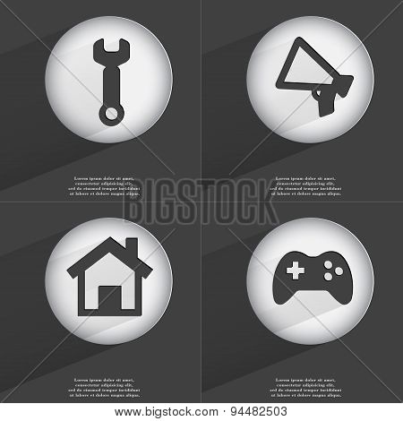 Wrench, Megaphone, House, Gamepad Icon Sign. Set Of Buttons With A Flat Design. Vector