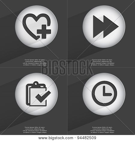 Heart With Plus, Rewind, Task Completed, Clock Icon Sign. Set Of Buttons With A Flat Design. Vector