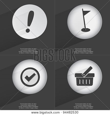 Exclamation Mark, Golf Hole, Tick, Basket Icon Sign. Set Of Buttons With A Flat Design. Vector