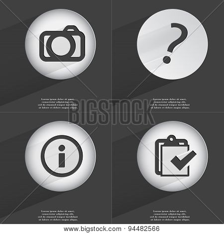 Camera, Question Mark, Information, Task Completed Icon Sign. Set Of Buttons With A Flat Design. Vec