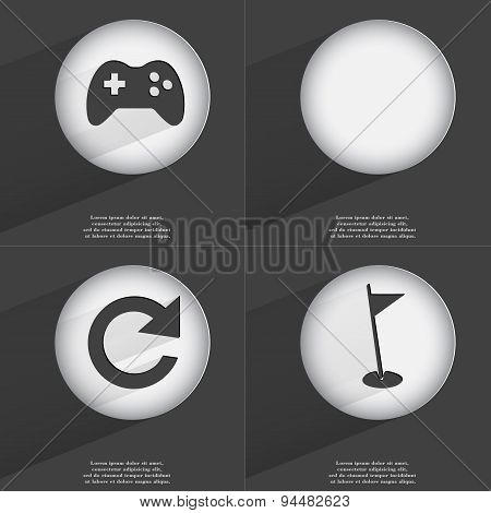Gamepad, Reload, Golf Hole Icon Sign. Set Of Buttons With A Flat Design. Vector