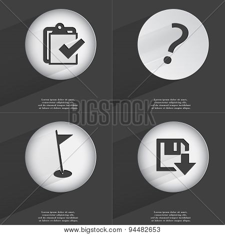 Task Completed, Question Mark, Golf Hole, Floppy Disk Download Icon Sign. Set Of Buttons With A Flat