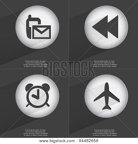 Sms, Rewind, Alarm Clock, Airplane Icon Sign. Set Of Buttons With A Flat Design. Vector