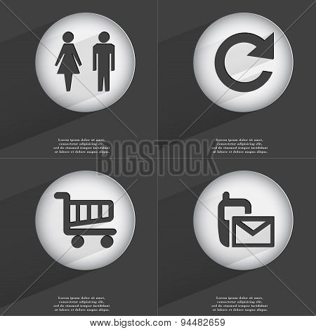 Silhouette Of Man And Woman, Reload, Shopping Cart, Sms Icon Sign. Set Of Buttons With A Flat Design