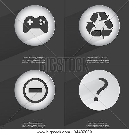 Gamepad, Recycling, Minus, Question Mark Icon Sign. Set Of Buttons With A Flat Design. Vector