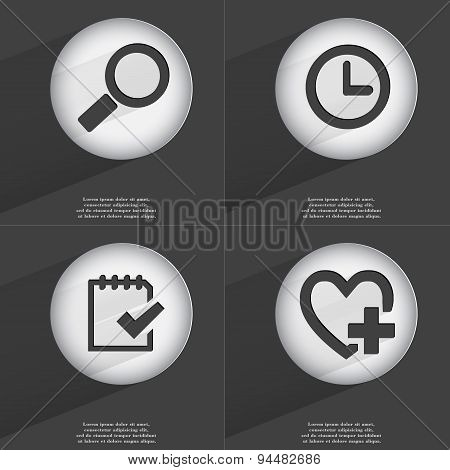 Magnifying Glass, Clock, Task Completed, Heart With Plus Icon Sign. Set Of Buttons With A Flat Desig