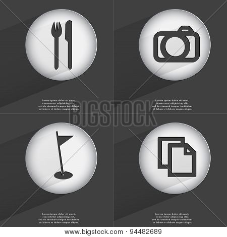 Fork And Knife, Camera, Golf Hole, Copy Icon Sign. Set Of Buttons With A Flat Design. Vector