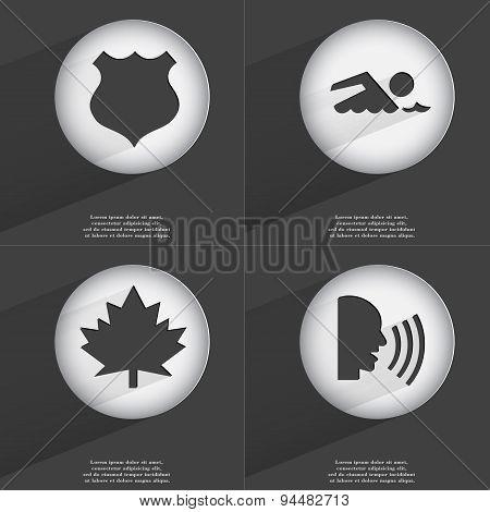 Police Badge, Swimmer, Maple Leaf, Talk Icon Sign. Set Of Buttons With A Flat Design. Vector
