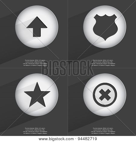 Arrow Directed Down, Police Badge, Star, Stop Icon Sign. Set Of Buttons With A Flat Design. Vector