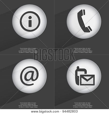 Information, Receiver, Mail, Sms Icon Sign. Set Of Buttons With A Flat Design. Vector
