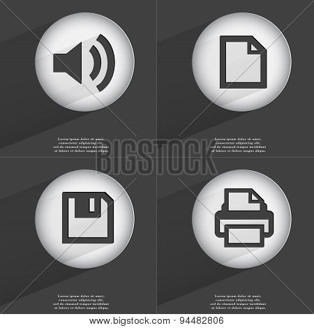 Sound, File, Floppy Disk, Printer Icon Sign. Set Of Buttons With A Flat Design. Vector