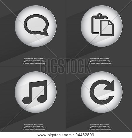 Chat Bubble, Tasklist, Note, Reload Icon Sign. Set Of Buttons With A Flat Design. Vector