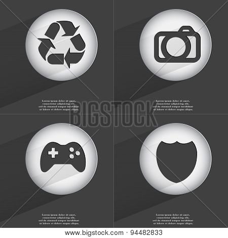 Recycling, Camera, Gamepad, Badge Icon Sign. Set Of Buttons With A Flat Design. Vector
