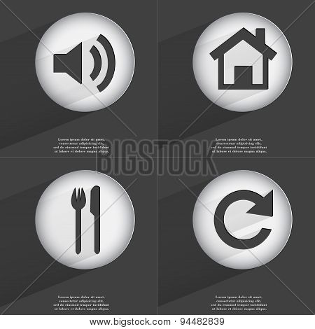 Sound, House, Fork And Knife, Reload Icon Sign. Set Of Buttons With A Flat Design. Vector
