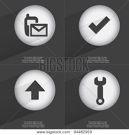 Sms, Tick, Arrow Directed Up, Wrench Icon Sign. Set Of Buttons With A Flat Design. Vector