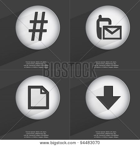 Hashtag, Sms, File, Arrow Directed Down Icon Sign. Set Of Buttons With A Flat Design. Vector