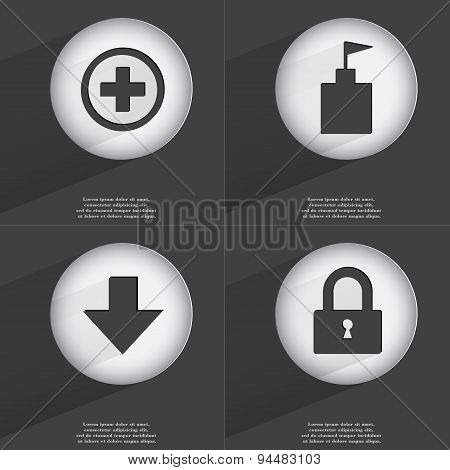 Plus, Flag Tower, Arrow Directed Down, Lock Icon Sign. Set Of Buttons With A Flat Design. Vector