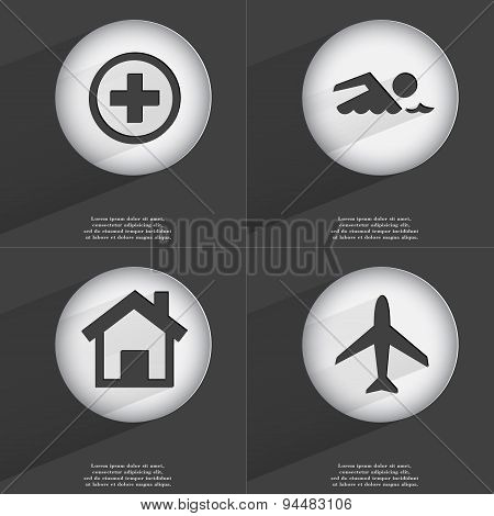 Plus, Swimmer, House, Airplane Icon Sign. Set Of Buttons With A Flat Design. Vector