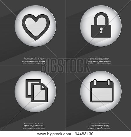 Heart, Lock, Copy, Calendar Icon Sign. Set Of Buttons With A Flat Design. Vector