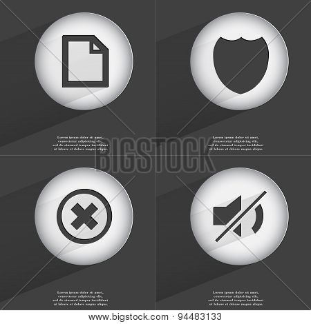 File, Badge, Stop, Mute Icon Sign. Set Of Buttons With A Flat Design. Vector