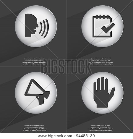 Talk, Task Completed, Megaphone, Hand Icon Sign. Set Of Buttons With A Flat Design. Vector