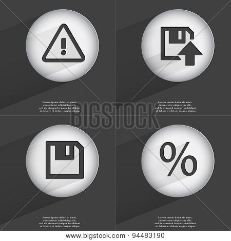Warning, Floppy Disk Upload, Percent Icon Sign. Set Of Buttons With A Flat Design. Vector