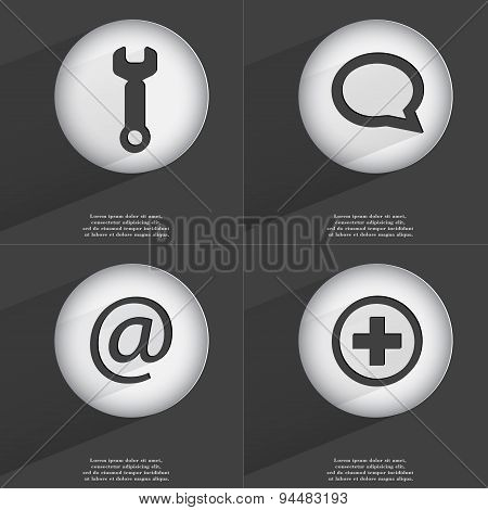 Wrench, Chat Bubble, Mail, Plus Icon Sign. Set Of Buttons With A Flat Design. Vector
