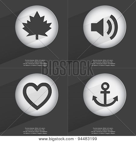 Maple Leaf, Sound, Heart, Anchor Icon Sign. Set Of Buttons With A Flat Design. Vector
