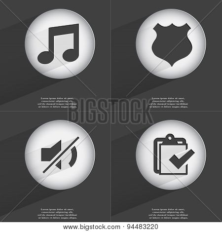 Note, Police Badge, Mute, Task Completed Icon Sign. Set Of Buttons With A Flat Design. Vector