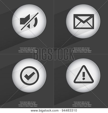 Mute, Message, Tick, Warning Icon Sign. Set Of Buttons With A Flat Design. Vector