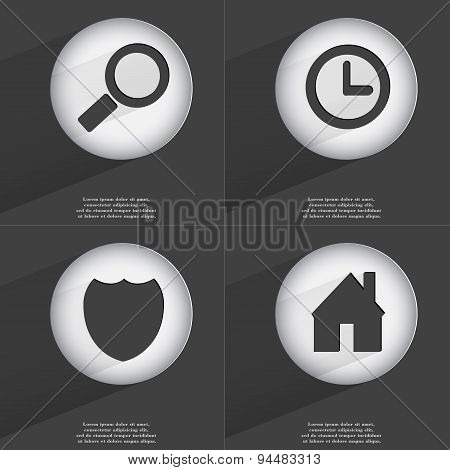 Magnifying Glass, Clock, Badge, House Icon Sign. Set Of Buttons With A Flat Design. Vector