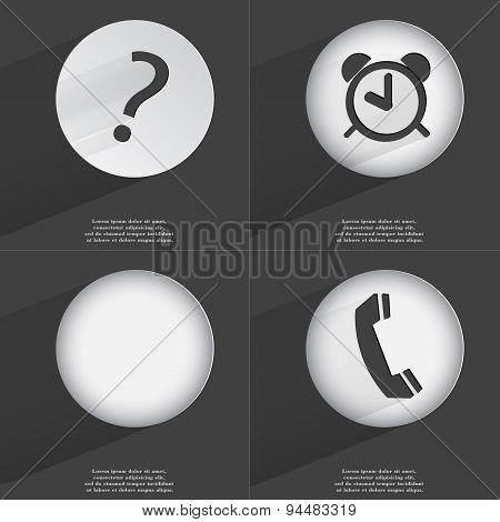 Question Mark, Alarm Clock, Receiver Icon Sign. Set Of Buttons With A Flat Design. Vector