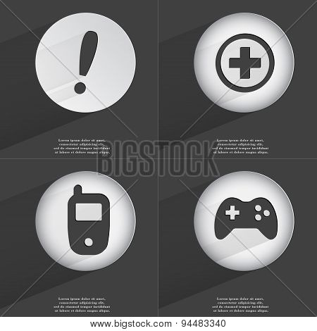 Exclamation Mark, Plus, Mobile Phone, Gamepad Icon Sign. Set Of Buttons With A Flat Design. Vector