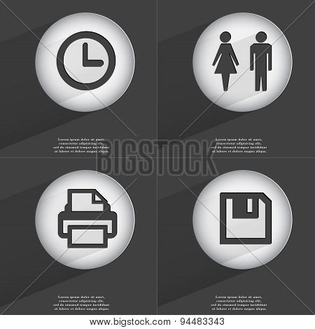 Clock, Silhouette Of Man And Woman, Printer, Floppy Disk Icon Sign. Set Of Buttons With A Flat Desig