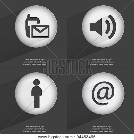 Sms, Sound, Silhouette, Mail Icon Sign. Set Of Buttons With A Flat Design. Vector
