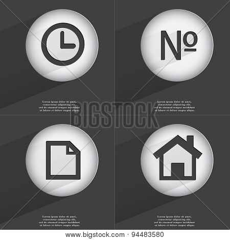 Clock, Number, File, House Icon Sign. Set Of Buttons With A Flat Design. Vector