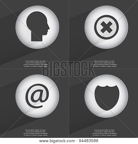 Silhouette, Stop, Mail, Badge Icon Sign. Set Of Buttons With A Flat Design. Vector