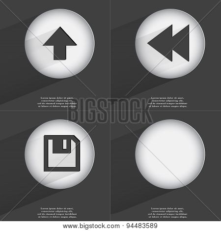 Arrow Directed Upwards, Rewind, Floppy Disk Icon Sign. Set Of Buttons With A Flat Design. Vector