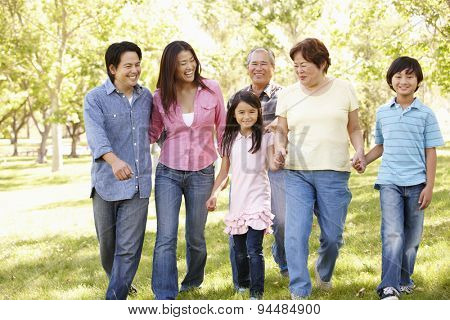 Multi-generation Asian family walking in park