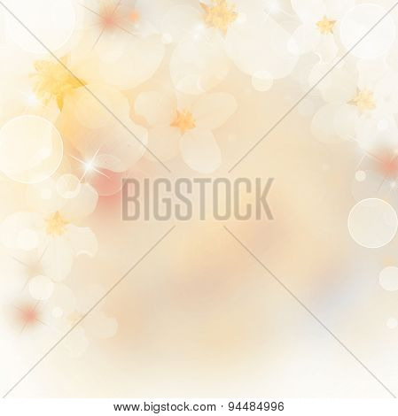 Abstract Floral Border Of White Flowers. Spring Blossom Background