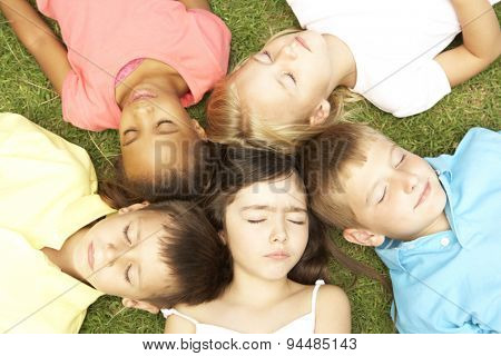 Overhead View Of Group Of Resting Children