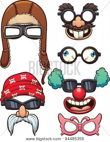 Funny cartoon glasses. Vector clip art illustration with simple gradients. Each on a separate layer.