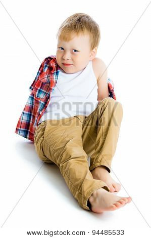 Funny Blue-eyed Three-year Boy On A White Background