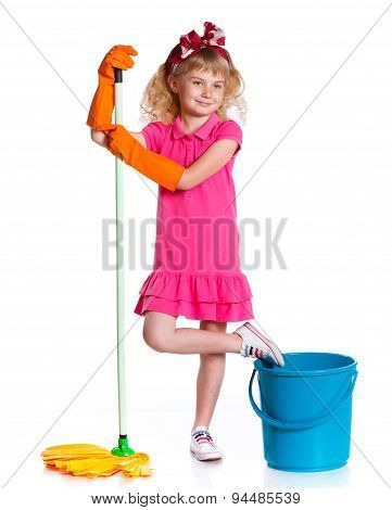 Little cleaning girl.