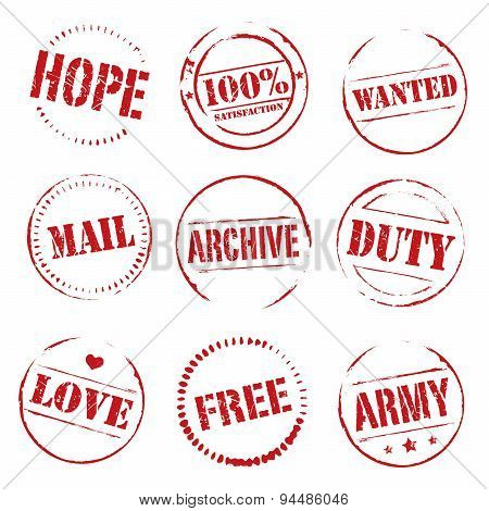 Set Of Red Vector Grunge Stamps