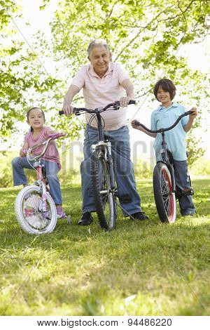 Hispanic Grandfather With Grandchildren In Park Riding Bikes