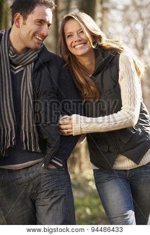 Couple on romantic walk in winter