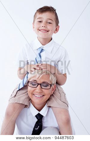 Smiling Mother With Son.