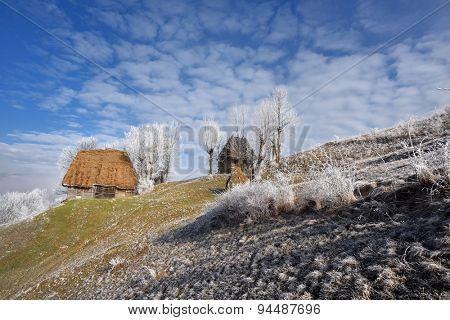 winter rural landscape in Romania